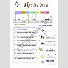 English Worksheets Adjective Order