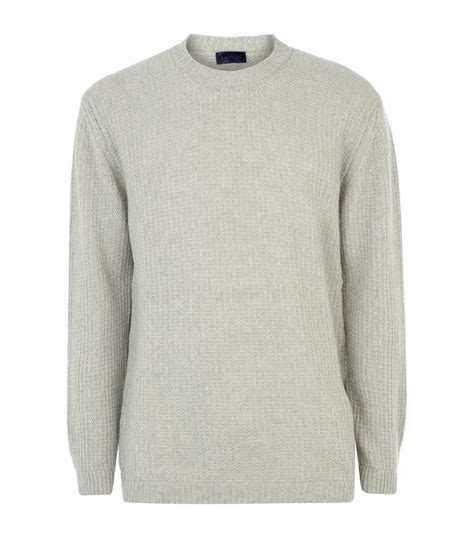waffle knit sweater lanvin gray waffle knit sweater for lyst