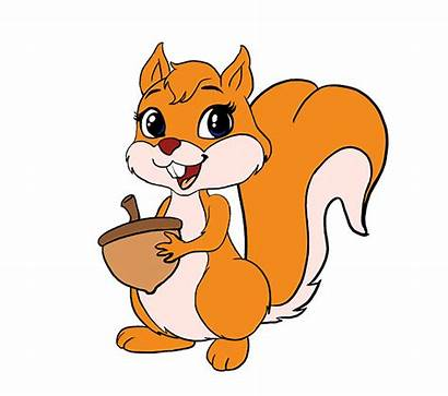 Squirrel Draw Clipart Cartoon Drawing Drawings Easy