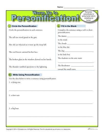 Personification Warm Up Activity  Figurative Language