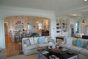 open floor plan kitchen and living room kitchen semi open to family room coastal cottage design ideas the shape living