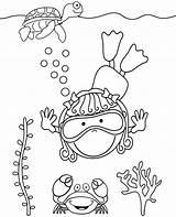 Coloring Diver Sea Sheet Topcoloringpages Animals sketch template
