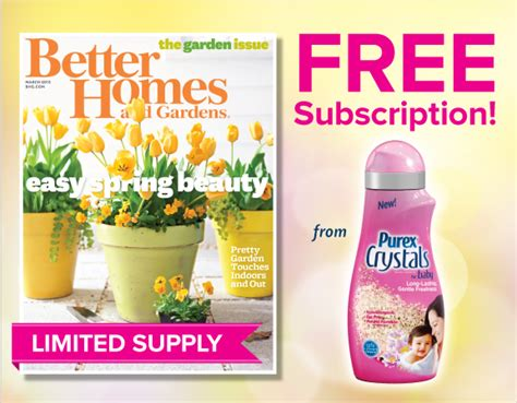 free better homes gardens magazine subscription 15 000