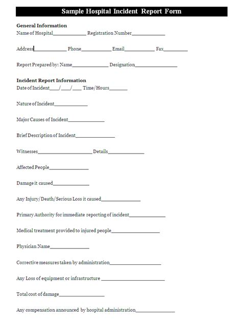 hospital incident report form template   filled