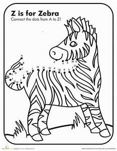 Dot to Dot A to Z Zebra | Worksheet | Education.com