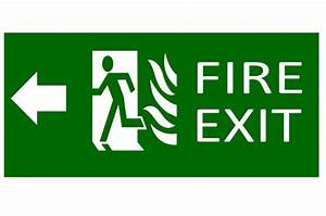 Green Exit Emergency Sign On White Free Stock Photo