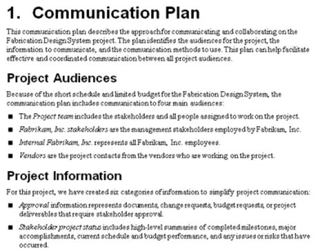 project communication plan mpug