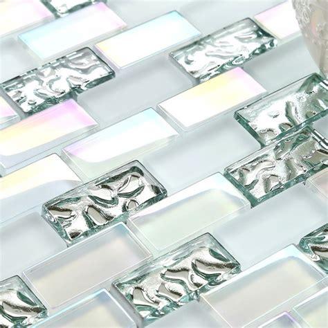 Iridescent Tiles Backsplash Uk by Tst Glass Metal Tile Iridescent White Glass Silver Mirror