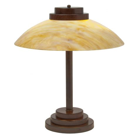 Art Deco Table Lamp With Amber Marbled Glass Shade On