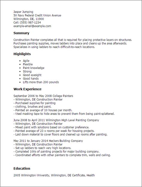 Painter Resume Template by Professional Construction Painter Templates To Showcase Your Talent Myperfectresume