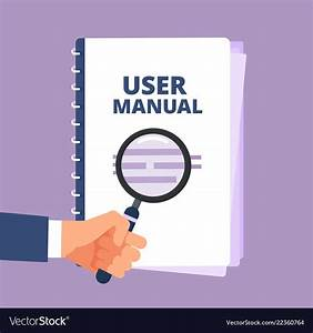 User Manual With Magnifying Glass User Guide Vector Image