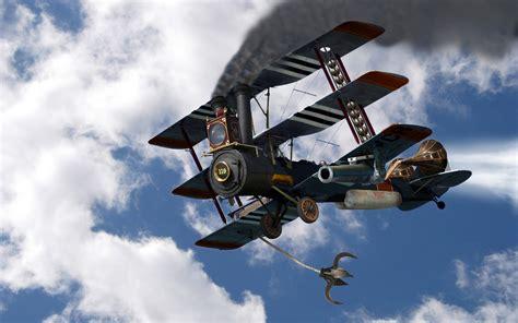 steampunk triplane hd wallpaper background image