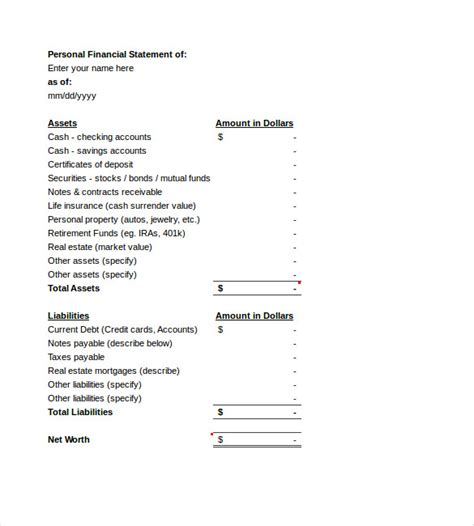 personal simple income statement templates format