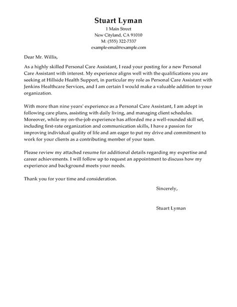 leading professional personal care assistant cover letter examples resources