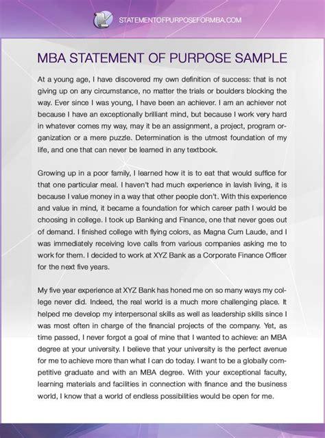 mba statement  purpose template personal statement