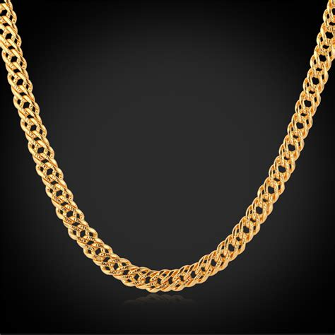 gold chain men necklaces  stamp  real gold rose