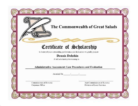 scholarship certificate templates  printable