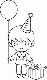Boy Drawing Outline Birthday Coloring Clipart Boys Clip Cliparts Drawings Holding Hands Library Sweetclipart Collection sketch template