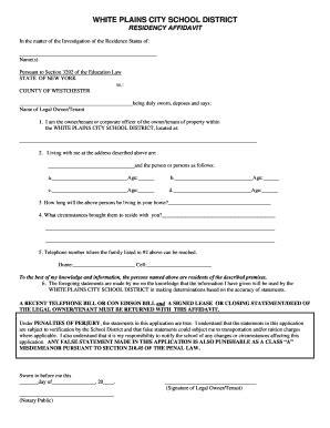 fillable  residency affidavit white plains public