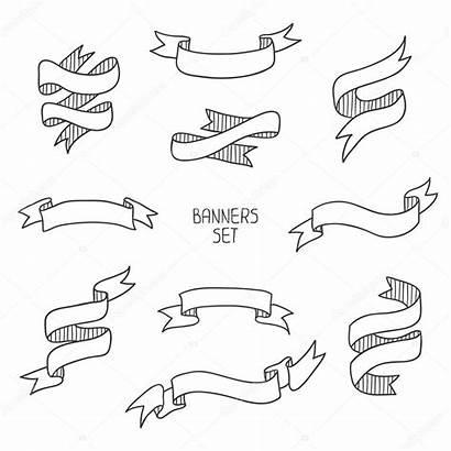 Banners Ribbon Drawn Hand Vector Illustration Banner