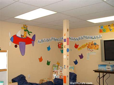 preschool wall murals daycare mural examples wall 872 | 3 airplane alphabet mural