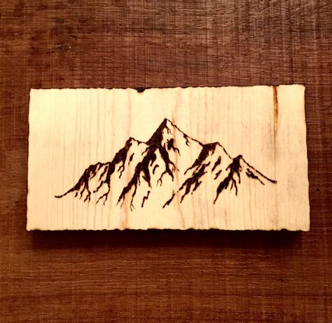 mountains wood burning pyrography art pyrography