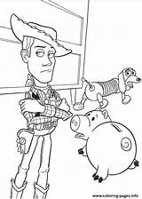 Coloring Slinky Dog Woody Sheriff Hamm Printable sketch template