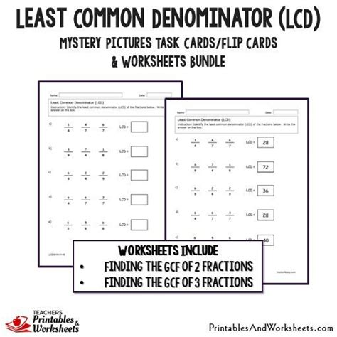 least common denominator lcd task cards and worksheets