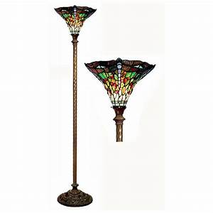 Tiffany style green dragonfly torchier floor lamp 224671 for Tiffany style arroyo floor lamp