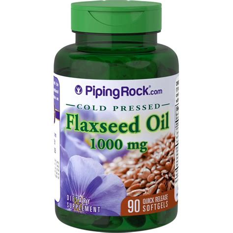 Piping Rock Flaxseed Oil Cold Pressed 1000 mg 90 Quick ...