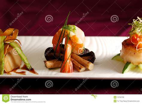 cuisine creative creative cuisine appetizer shrimp seafood stock photo