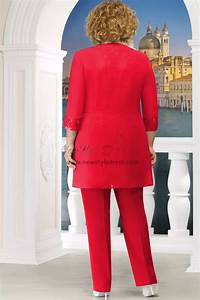 Red Plus Size Mother Of The Bride Pant Suit Women 3pc