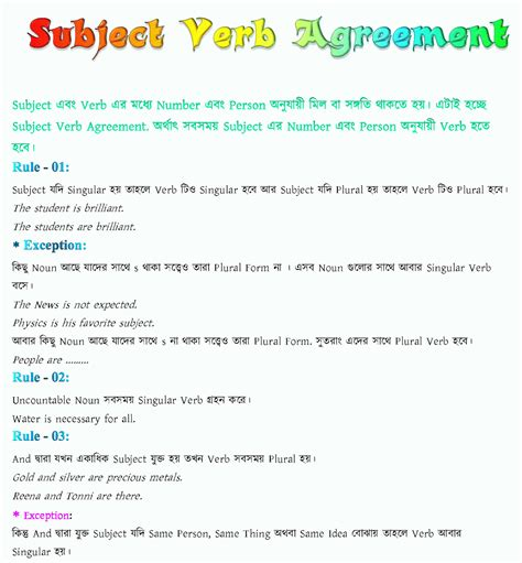 Play To Degree All Education Subject Verb Agreement For Jsc, Ssc, Hsc