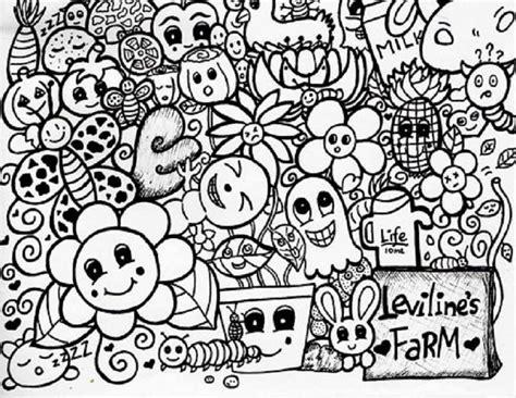 gambar doodle bunga  gambar doodle karakter lucu