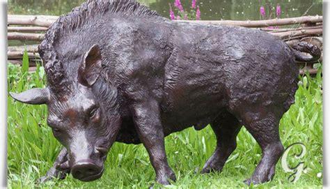 Große Wildschein Skulptur Aus Bronze  Keiler • Gartentraumde