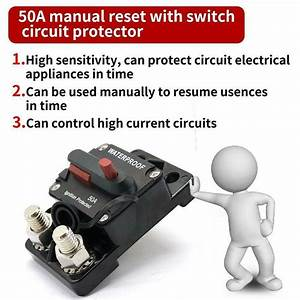 50amp Circuit Breaker Ip67 12  24v Fuse Manual Reset Switch