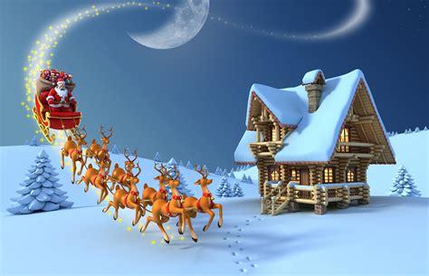santa claus   reindeers  north pole