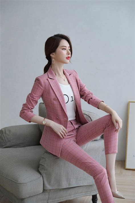 female elegant womens pink khaki plaid skirt suit dress