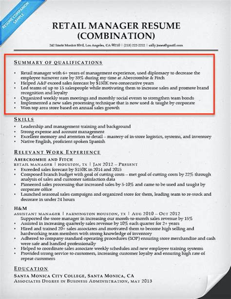 Summary Of Qualifications Sales by How To Write A Summary Of Qualifications Resume Companion
