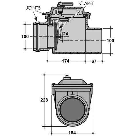 clapet anti retour pvc gris 216 100 mm nicoll cazabox