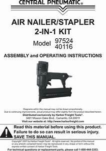 Central Pneumatic Nail Gun 40116 Users Manual