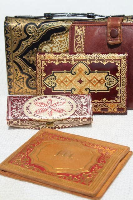 vintage Florentine gold gilt embossed Italian leather