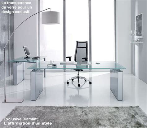 bureau design en verre meubles de direction bureau design contemporain plateau