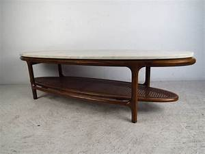 mid century modern marble top coffee table with cane shelf With marble coffee table with shelf