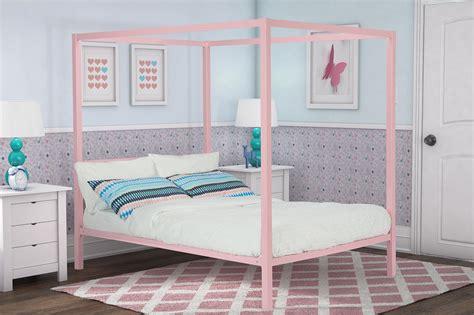 Dorel Modern Full Pink Metal Canopy Bed