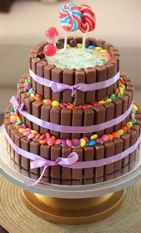 tier chocolate birthday cake kitkat cake