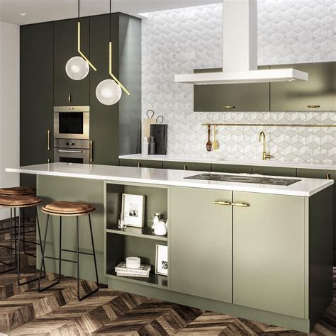 olive green kitchen cabinets gold hardware parquet floor