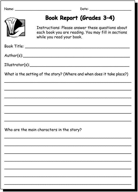 book report   practice writing worksheet