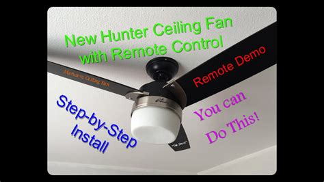 install  ceiling fan  remote control hunter