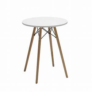 Petite Table En Bois : petite table de bar ronde pieds bois hauteur 76 cm blanc tab09008 d coshop26 ~ Teatrodelosmanantiales.com Idées de Décoration